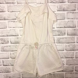 Ivory Flounce top romper size 7/8